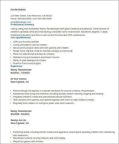 8+ Sample Housekeeper Resumes Sample Templates - housekeeper resume example