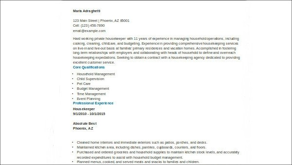 8+ Sample Housekeeper Resumes Sample Templates - sample housekeeper resume