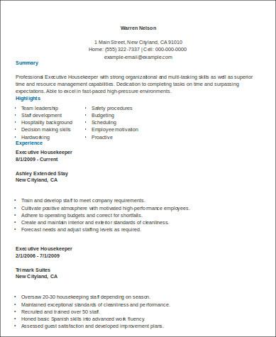8+ Sample Housekeeper Resumes Sample Templates - sample housekeeping resume