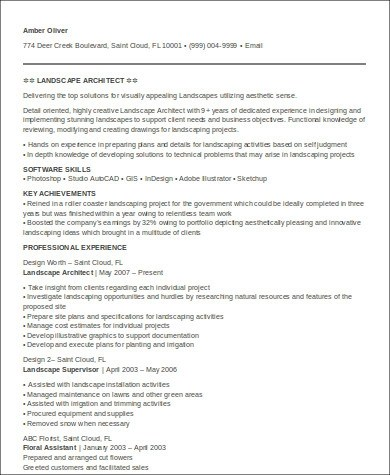 7+ Sample Architecture Resumes Sample Templates