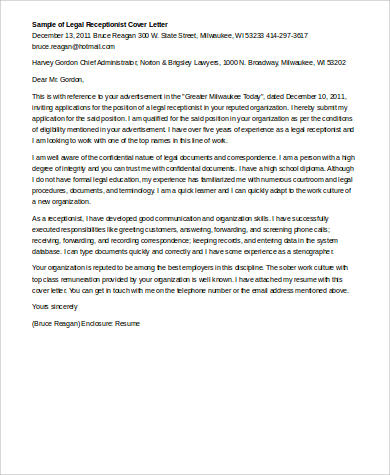 Sample Cover Letter For Receptionist - 7+ Examples in Word, PDF