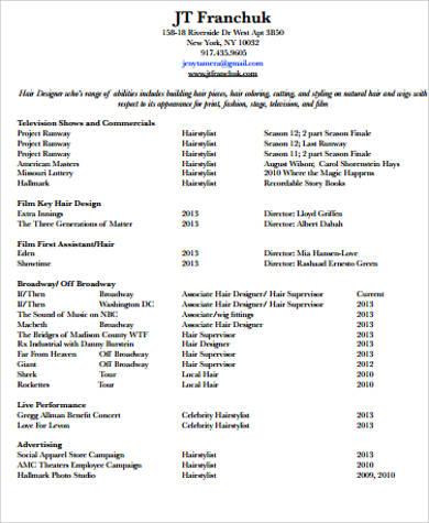 Sample Hair Stylist Resume - 6+ Examples in Word, PDF - hair stylist resume