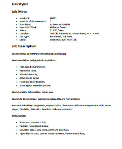Stunning Stylist Job Description Resume Images - Simple resume - hairstylist job description