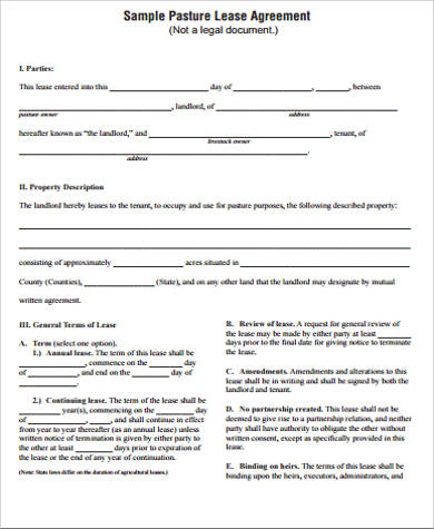10+ Sample Horse Lease Agreements Sample Templates - Sample Pasture Lease Agreement Template