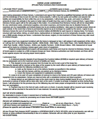 Sample Horse Lease Agreement - 10+ Examples in Word, PDF - sample horse lease agreement template