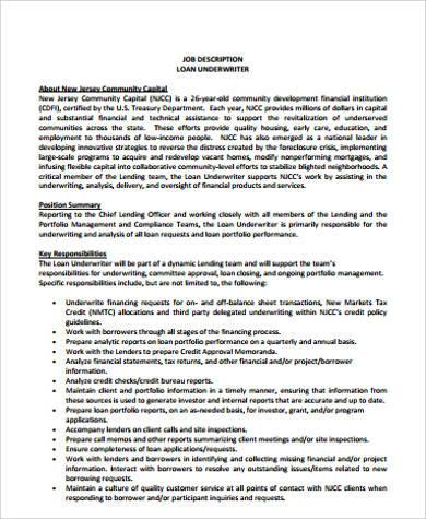 9+ Underwriter Job Description Samples   Sample Templates