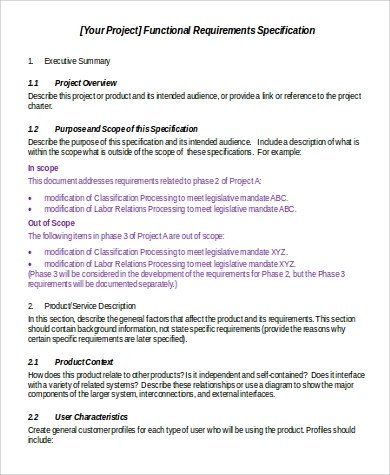Functional Requirement Document Sample - 6+ Examples in Word
