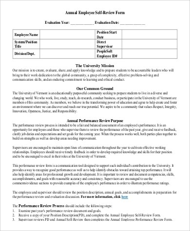 Sample Employee Self Evaluation Form - 8+ Examples in Word, PDF - performance self evaluation form