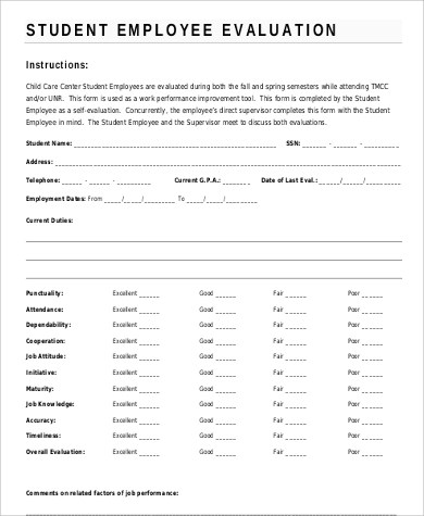 Employee Evaluation Template Free Samplescsat - employee self evaluation form