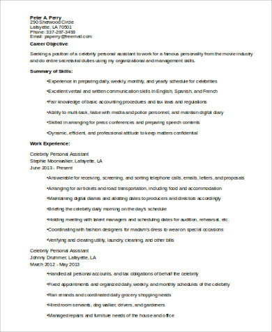 8+ Sample Personal Assistant Resumes Sample Templates