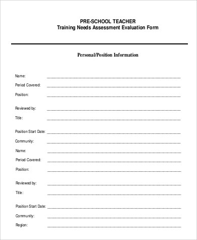 8+ Sample Teacher Self-Evaluation Forms Sample Templates