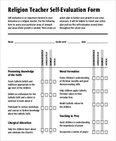 Teacher Self Evaluation Forms Sample Employee Self Evaluation Form
