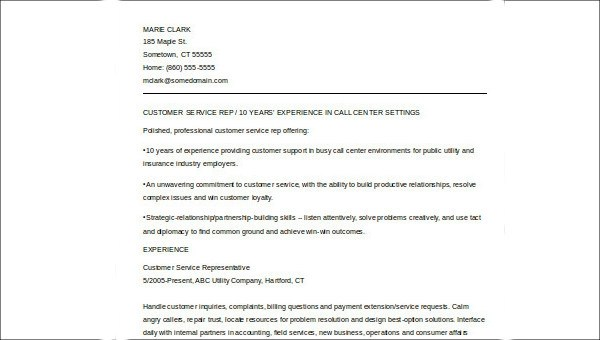 Customer Service Skills Resume - 7+ Examples in Word, PDF