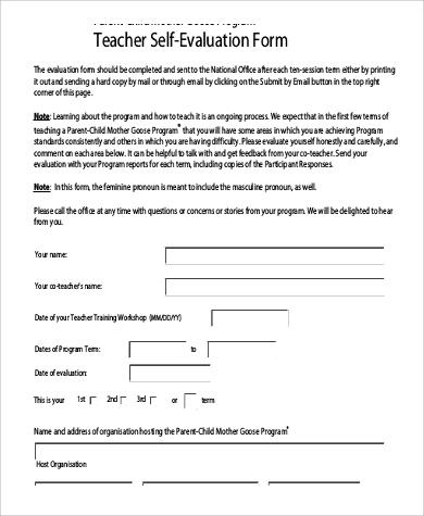 8+ Sample Teacher Self-Evaluation Forms Sample Templates