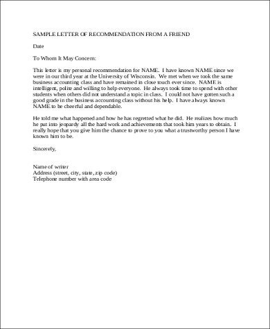 5+ Sample Letters of Recommendation For a Friend \u2013 PDF, DOC Sample - letter of recommendation for a friend