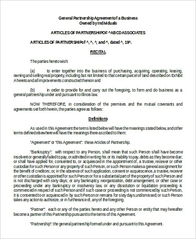 9+ Business Agreement Format Samples Sample Templates - Partnership Agreement Format
