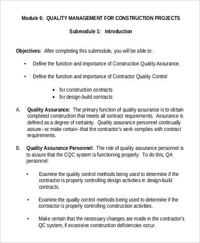 9+ Sample Quality Management Plans Sample Templates - quality control plans