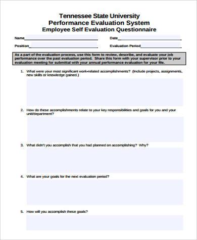 7+ Sample Performance Self-Evaluation Forms Sample Templates