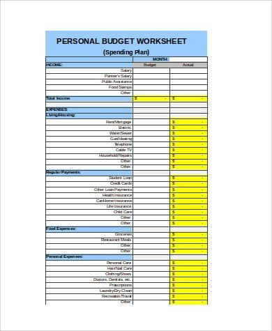 8+ Sample Excel Budget Spreadsheets Sample Templates - personal budget worksheets