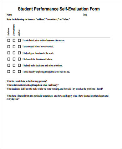 Sample Performance Self-Evaluation Form - 7+ Examples in Word, PDF - performance self evaluation form