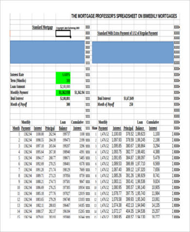 6+ Mortgage Payment Calculator Extra Payment Samples   Sample Templates