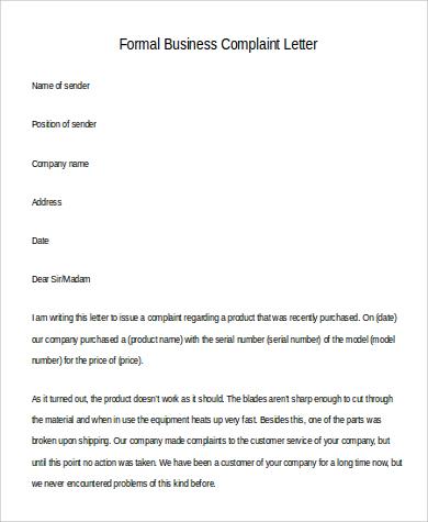 business complaint letter - Pinarkubkireklamowe