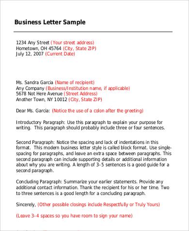 9+ Sample Formal Business Letters Sample Templates