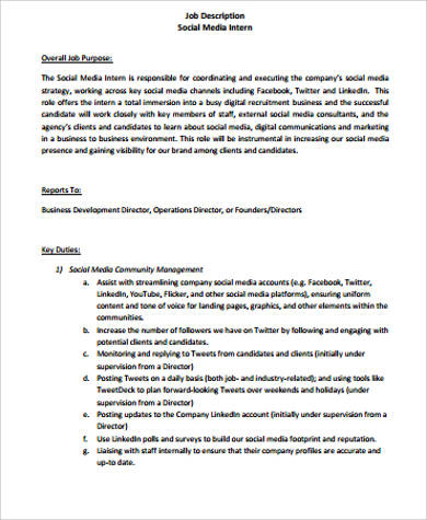 Intern Job Description Sample 11+ Examples In Word, PDF Social Work Intern
