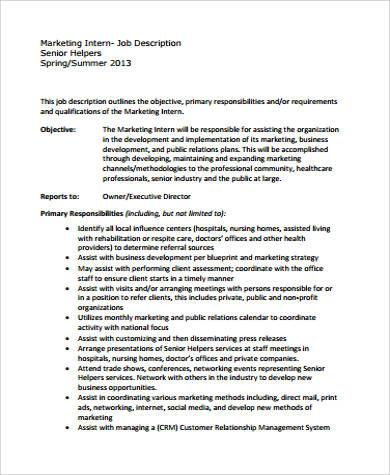 11+ Intern Job Description Samples Sample Templates