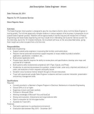Sales Engineer Job Description  NodeCvresumePaasproviderCom