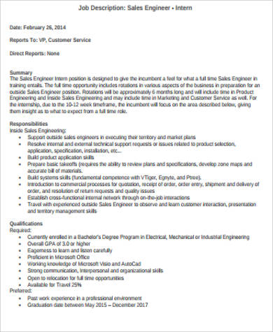 Intern Job Description Sample - 11+ Examples in Word, PDF