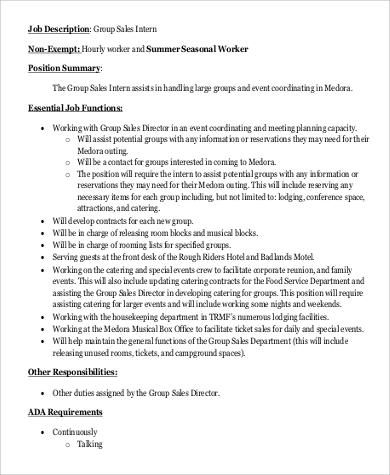 9+ Sales Intern Job Description Samples Sample Templates - sales job description