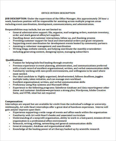 9+ General Intern Job Description Samples Sample Templates - Office Intern Job Description