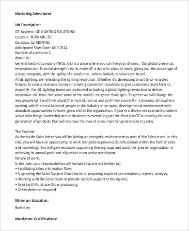 Sales Intern Job Description Sample - 9+ Examples in PDF