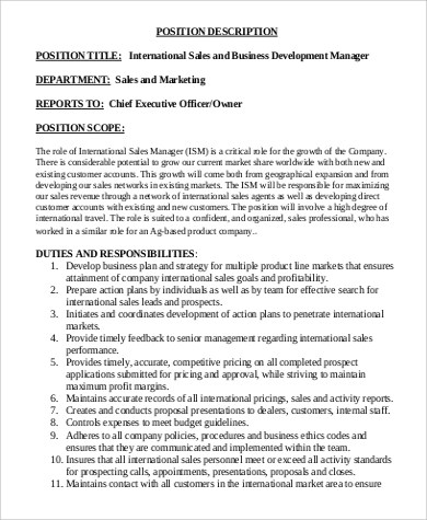 Marketing And Business Development Coordinator Job Description