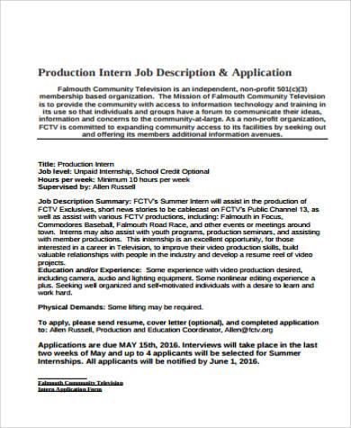 9+ General Intern Job Description Samples Sample Templates - information technology intern job description