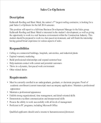 Sales Intern Job Description Sample - 9+ Examples in PDF - office intern job description