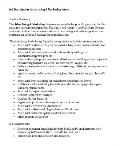 9+ Marketing Intern Job Description Samples Sample Templates