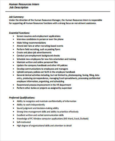 office intern job description template - Office Intern Job Description