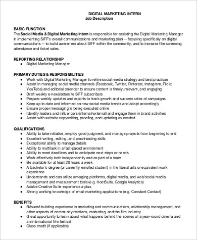 Social Media Marketing Job Description  NodeCvresume