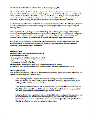 HR Intern Job Description Sample - 10+ Examples in Word, PDF