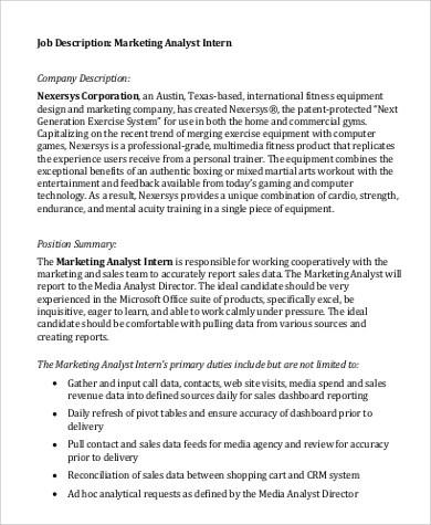 Intern Job Description  Resume Template Sample