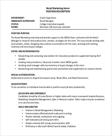 Marketing Intern Job Description Sample - 10+ Examples in Word, PDF