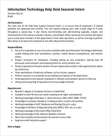 Information Technology Intern Job Description Information