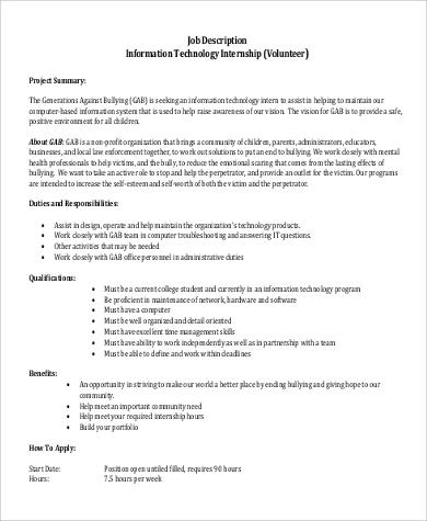 9+ IT Intern Job Description Samples Sample Templates