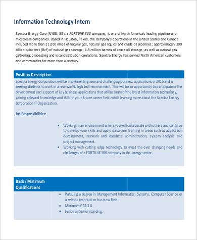 Information Technology Intern Job Description | ophion.co
