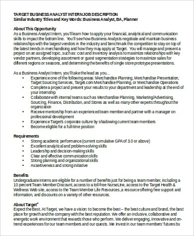 Business Intern Job Description Sample 9 Examples In Word Pdf Business  Intern   Business Planning Analyst