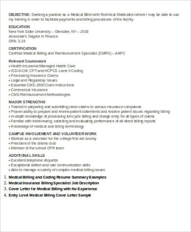 Sample Medical Billing Resume - 7+ Examples in Word, PDF