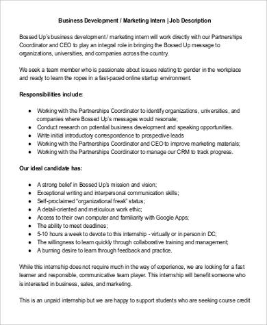9+ Business Intern Job Description Samples Sample Templates