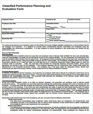 11+ Sample Performance Evaluation Forms Sample Templates
